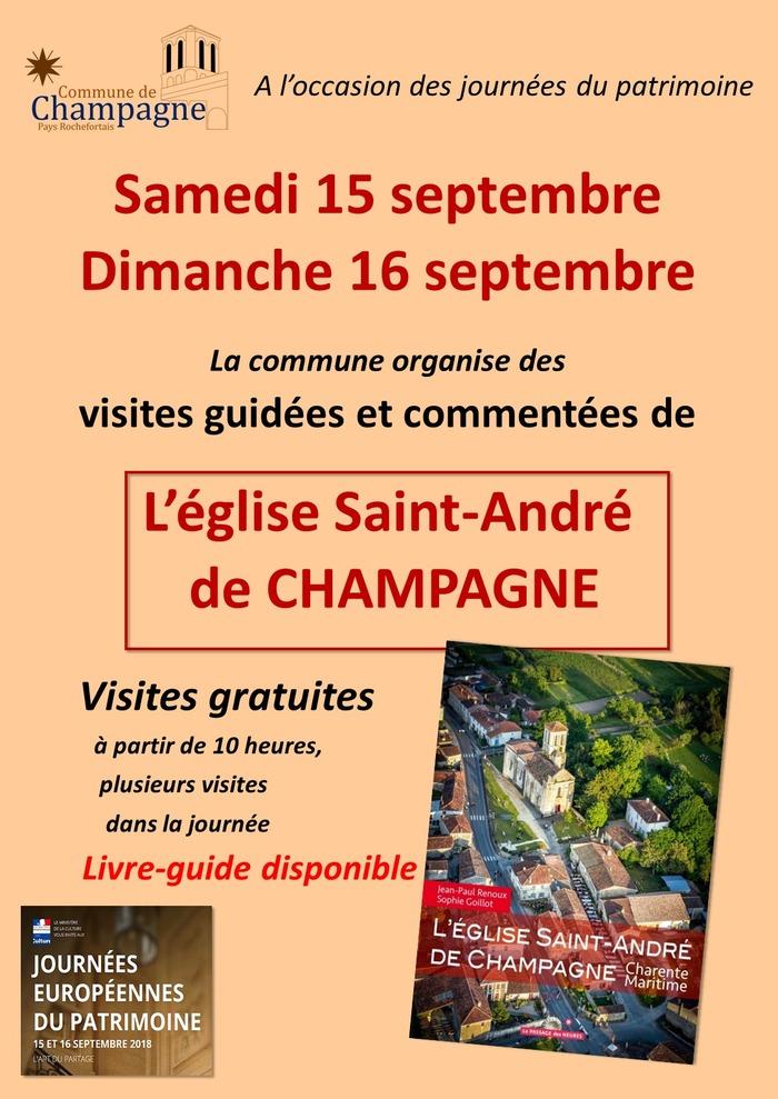Journées du patrimoine 2018 - Visites guidées et libres de l'église Saint-André de Champagne