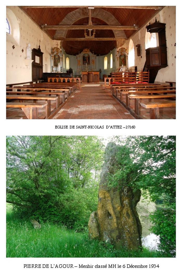 Journées du patrimoine 2018 - Visite libre de l'église de Saint-Nicolas d'Attez - Pierre de l'Agour ( menhir classé MH )