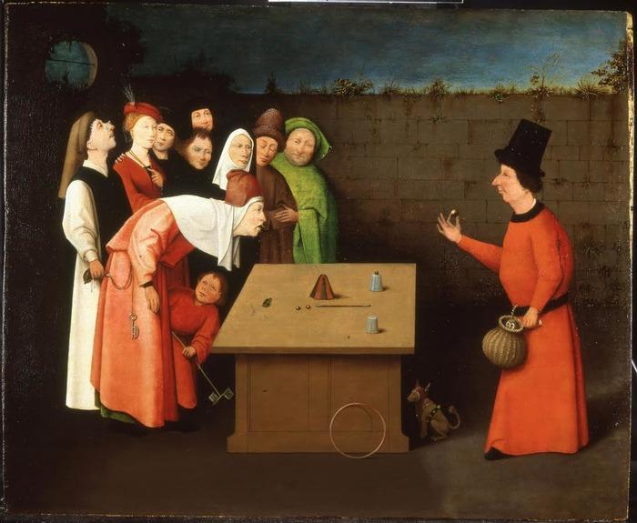 Crédits image : Jérôme Bosch (suiveur) : L'Escamoteur. Huile sur bois, à partir de 1525. Saint-Germain-en-Laye, musée municipal, inv. 872.1.87. Cl. L. Sully-Jaulmes