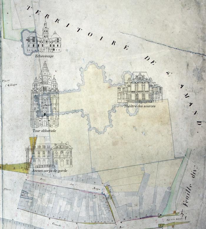 Crédits image : Musée de St Amand-les-Eaux. D'après un plan de la ville de 1821 conservé au fonds patrimoine de la médiathèque des Encres