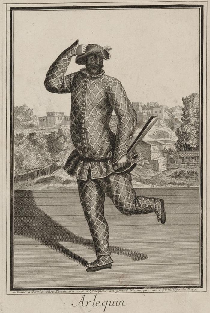 Crédits image : Habillements et scènes comiques du Théâtre Italien : soixante-douze planches, 1750