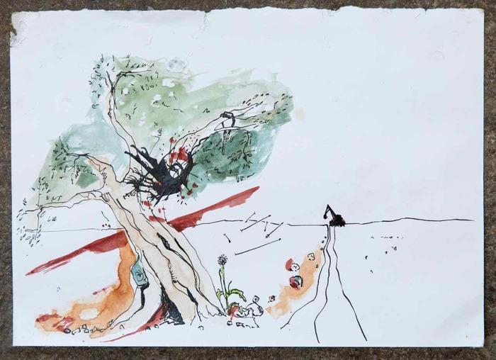 LE BULLDOZER ET L'OLIVIER, conte musical, ET affichage de dessins, projection de films autour de la figure de Handala