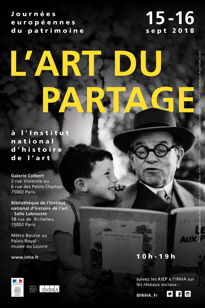 Journées du patrimoine 2018 - Le partage en Grand : conférences (rôle de la photographie en tant que moyen privilégié de partage, de transmission... dialogue ouvert