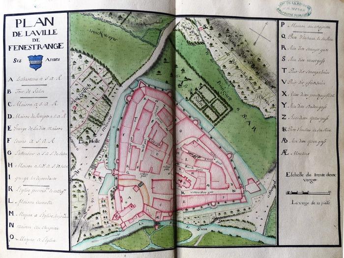 Crédits image : Arch. dép. de Meurthe-et-moselle, cote B11765, Terrier original des biens fonds sis en la ville et sur le ban et finage de Fénétrange, 1716