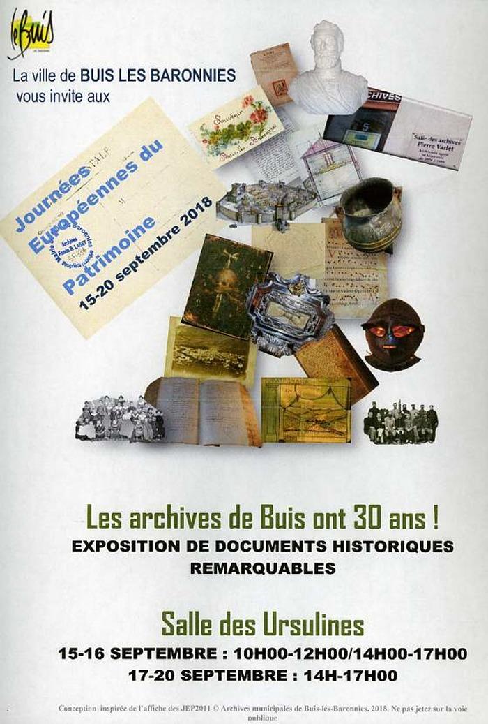 Journées du patrimoine 2018 - Exposition à Buis-les-Baronnies.