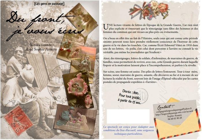 Journées du patrimoine 2018 - Lecture de lettre vivantes de l'époque de la Grande Guerre.