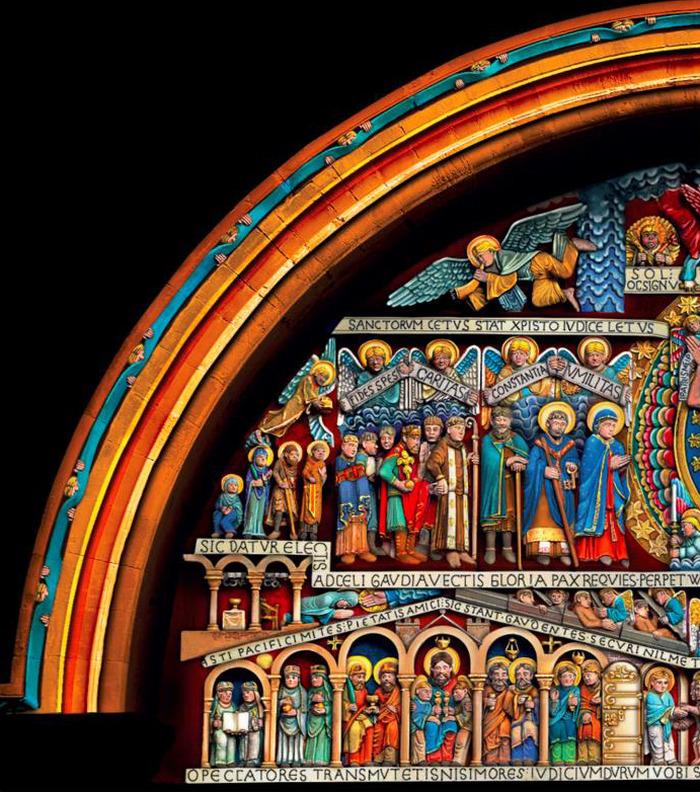 Journées du patrimoine 2018 - Mise en lumière et polychromie du tympan en nocturne