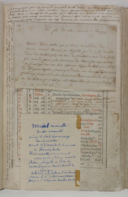 Journées du patrimoine 2018 - Missel de 1589 restauré en 2017 comportant une annotation manuscrite précieuse