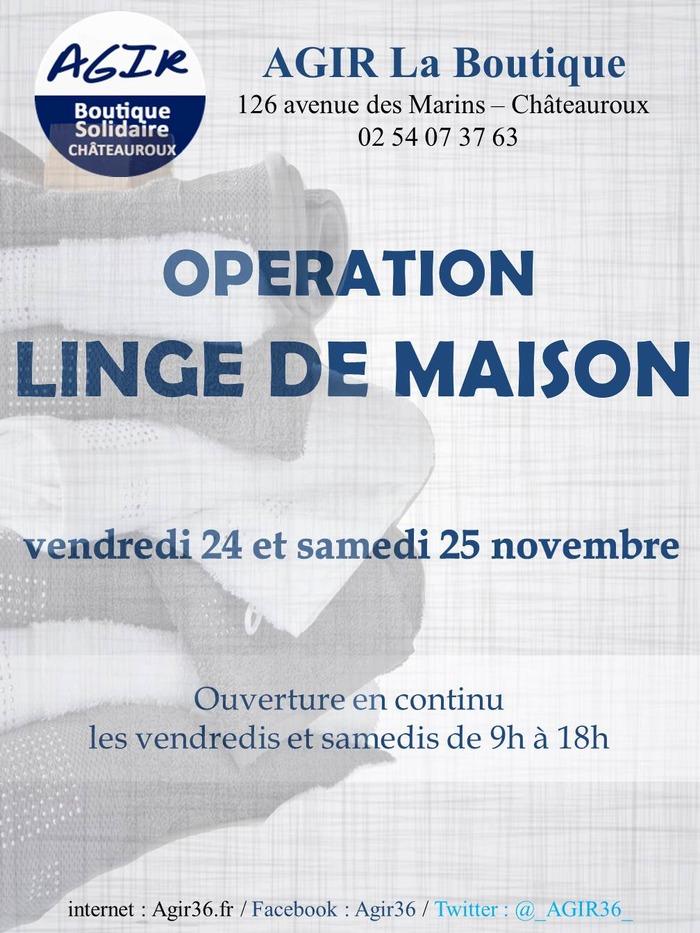 opération LINGE DE MAISON (Boutique Solidaire AGIR)