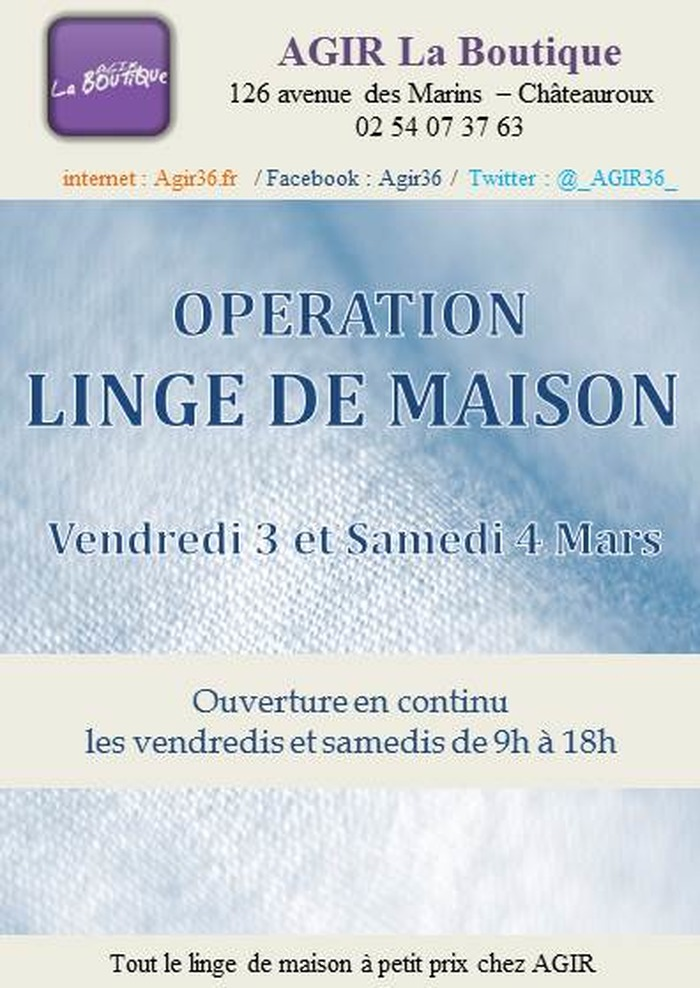 Op ration linge de maison boutique solidaire agir du 3 au - Society linge de maison boutique ...