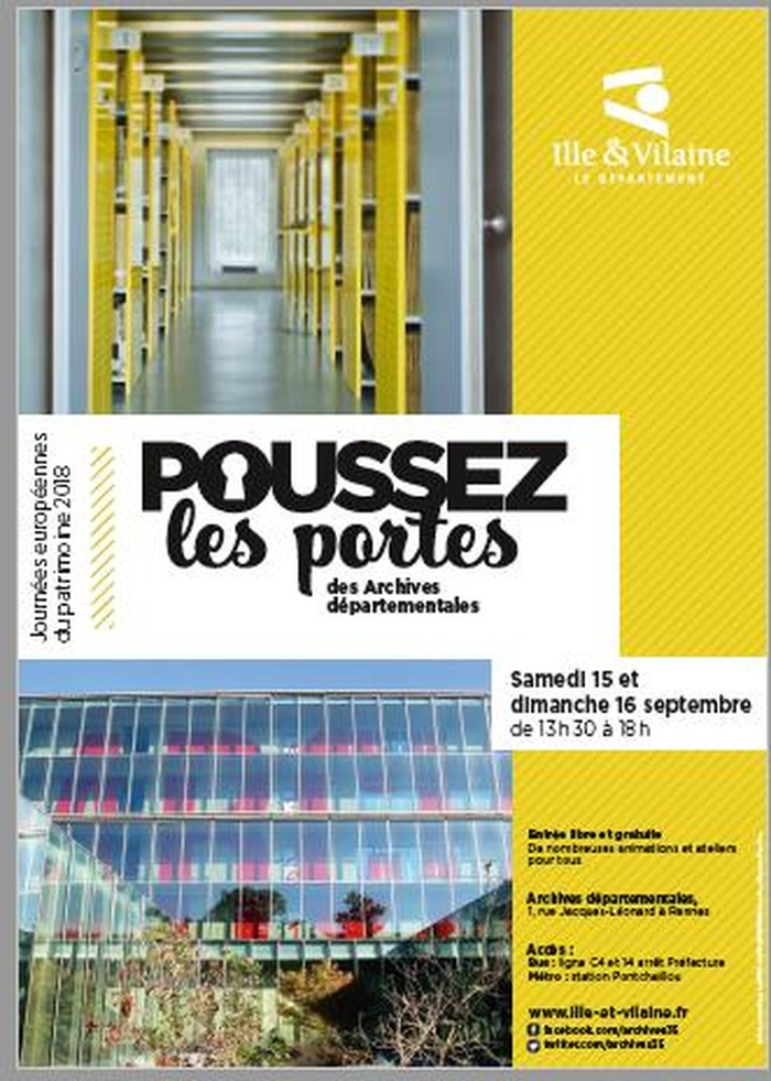 Journées du patrimoine 2018 - Ouverture des portes des Archives départementales d'Ille-et-Vilaine