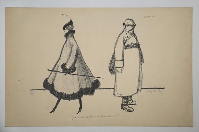Crédits image : Louis Abel-Truchet (1857-1918), La MODE - Faut v'nir des tranchées pour voir ça !... Lithographie sur papier. Saint-Germain-en-Laye, musée municipal, inv. 2011.R.O.85. Cl. J. Paray