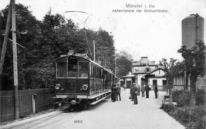 Crédits image : Le départ du tramway, gare de Munster, collection Laurent Schaffhauser