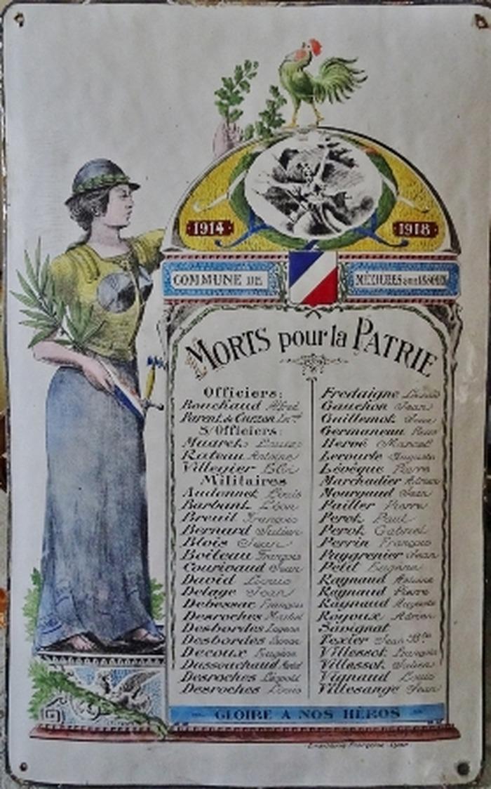 Journées du patrimoine 2018 - Présentation et interprétation d'une plaque émaillée commémorative de la guerre 14-18 datée de 1920