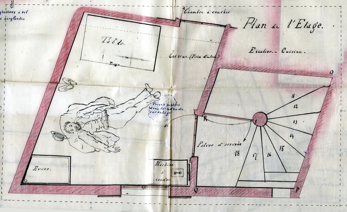 Crédits image : Archives départementales de l'Yonne. Plan d'une scène de crime. Arch. dép. Yonne 2 U 190