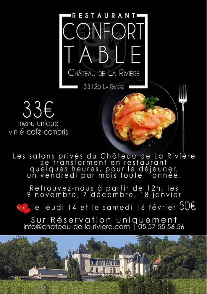 Restaurant Confort Table au Château de La Rivière