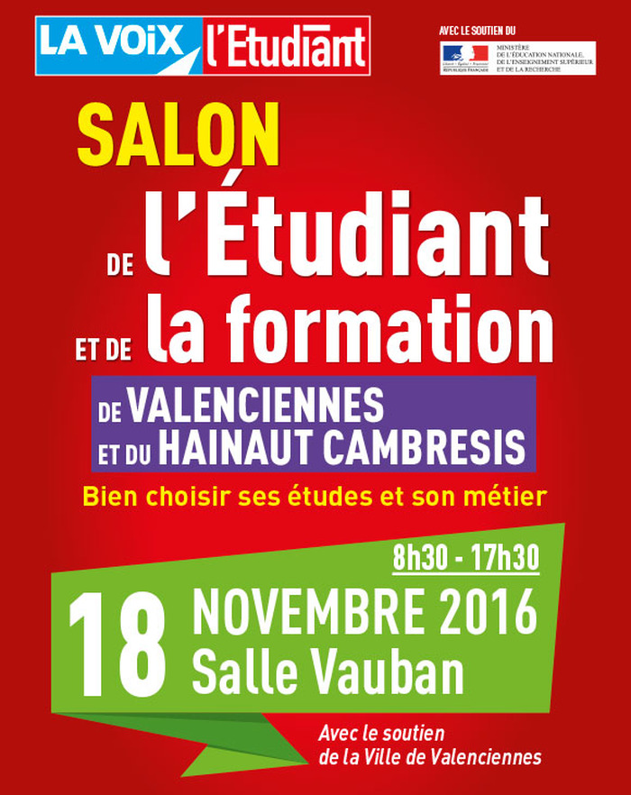 Salon de l 39 etudiant et de la formation le vendredi 18 for Salon de the valenciennes