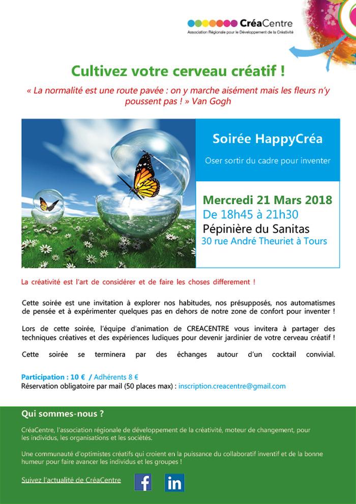 Soirée HappyCréa association CréaCentre : cultivez votre cerveau créatif