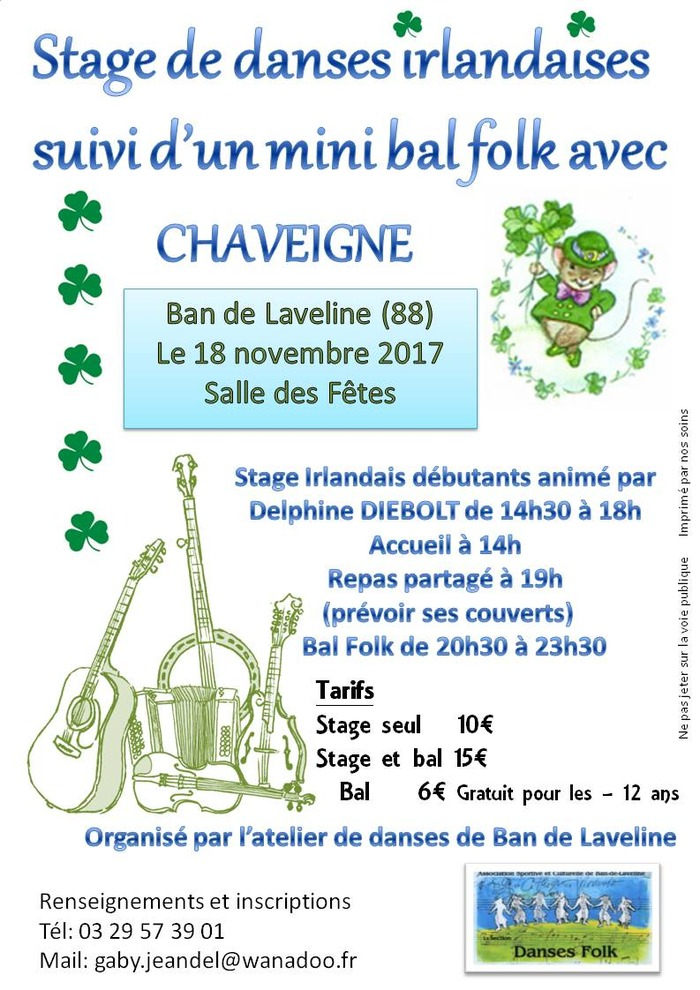 Stage de danses irlandaises et mini bal folk