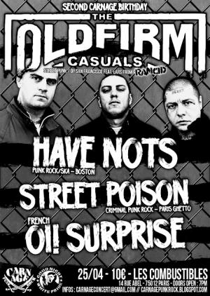 The Old Firm Casuals + Have Nots + Street Poison