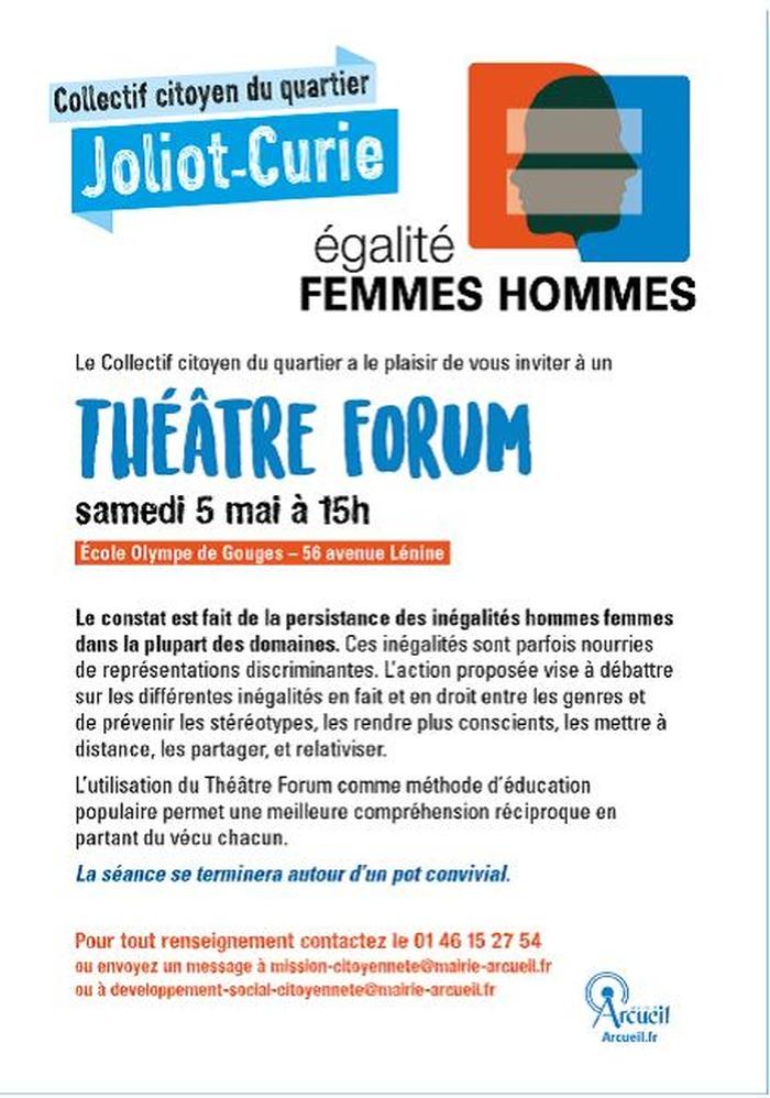Théâtre forum égalité femmes-hommes samedi 5 mai à Arcueil