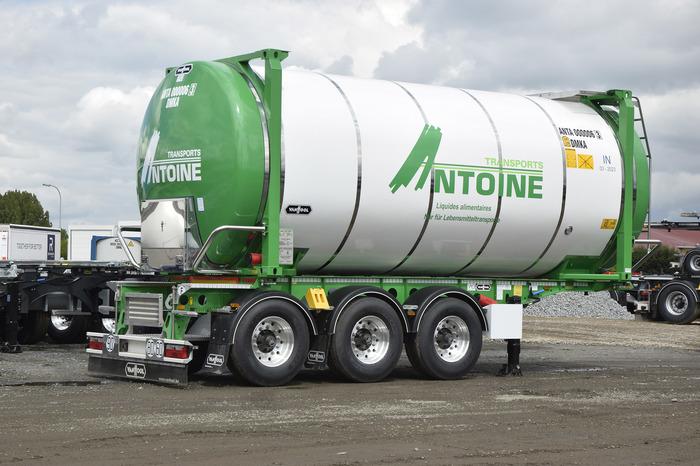 Van Hool porte conteneur + citerne mobile 7,45 M – 30.000 L – produits alimenta…