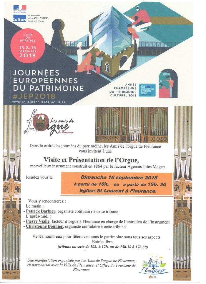 Journées du patrimoine 2018 - Visite de l'orgue Magen