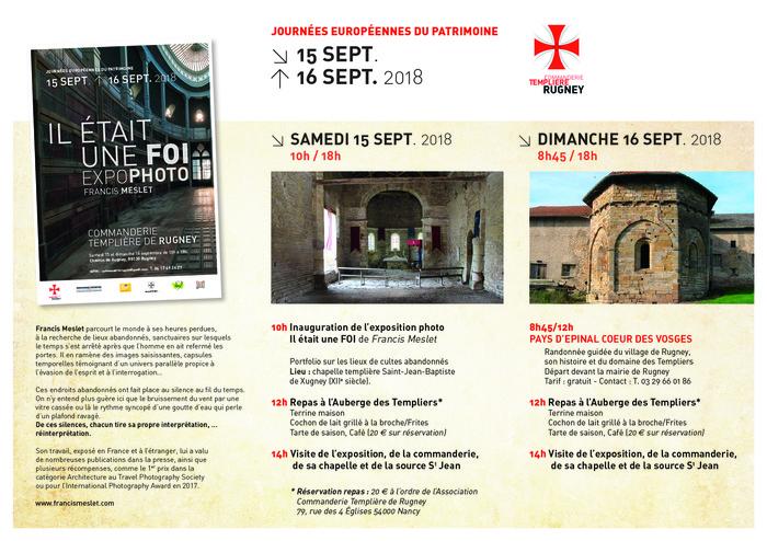 Journées du patrimoine 2018 - Visite de la commanderie Templière de Rugney et exposition Photos