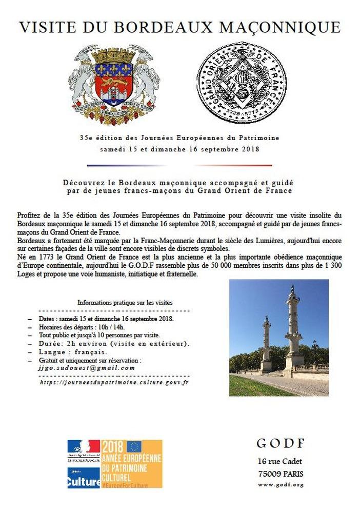 Journées du patrimoine 2018 - Visite du Bordeaux Maçonnique