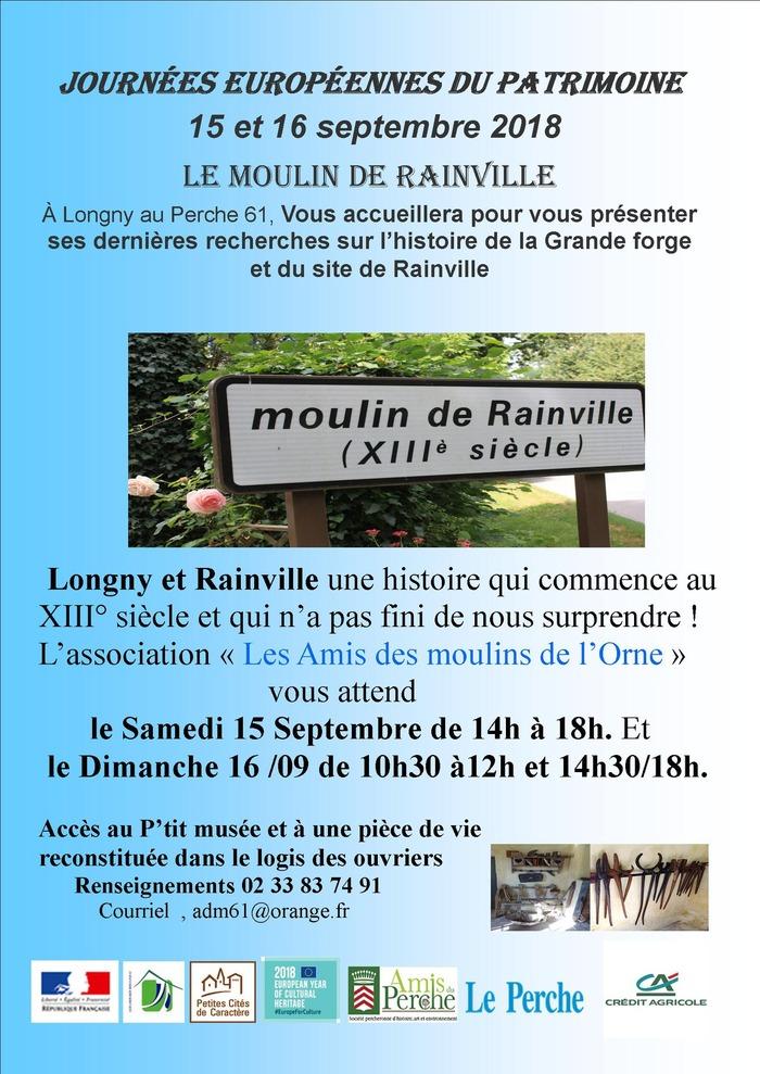 Journées du patrimoine 2018 - Visite guidée du moulin de Rainville et de son élément de Forge