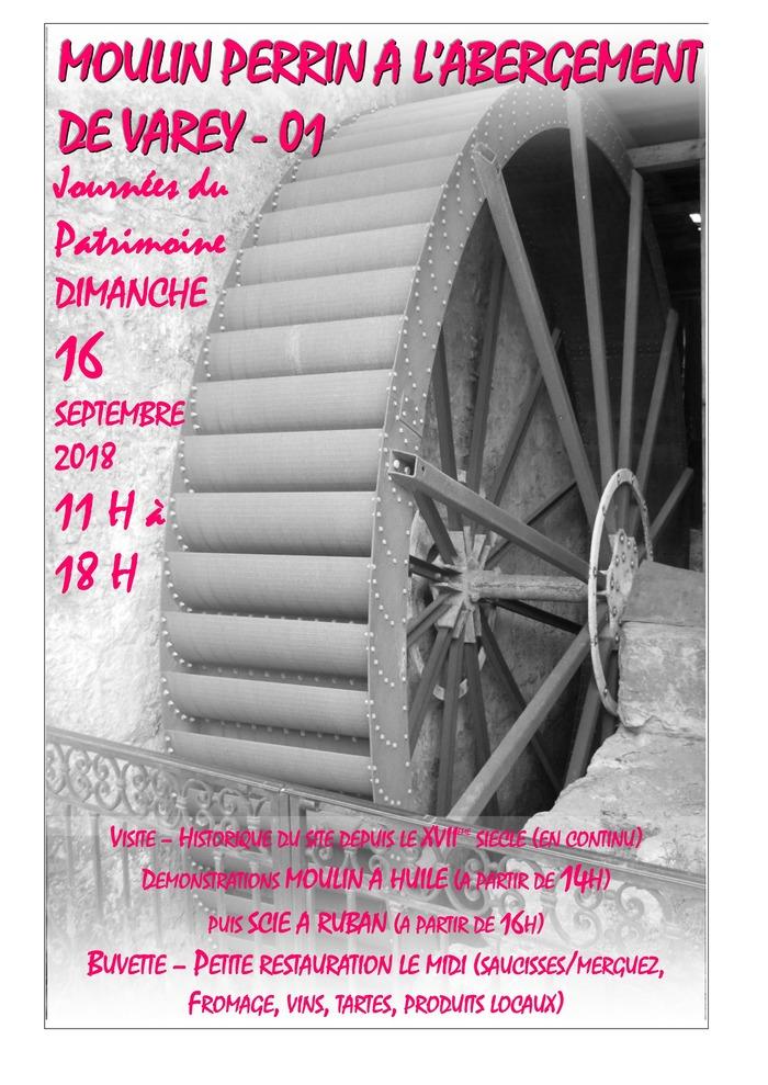 Journées du patrimoine 2018 - Visite du moulin - Démonstration huile de noix / scie à ruban