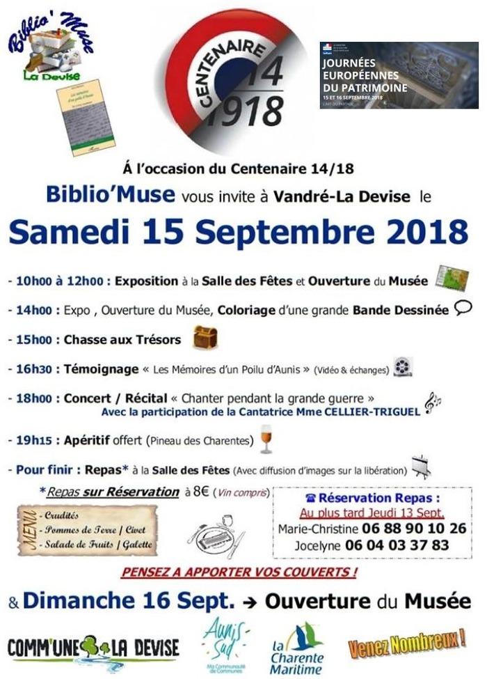 Journées du patrimoine 2018 - Visite du musée de La Devise, centenaire de l'armistice 1914-1918 et beaucoup d'autres animations à Vandré