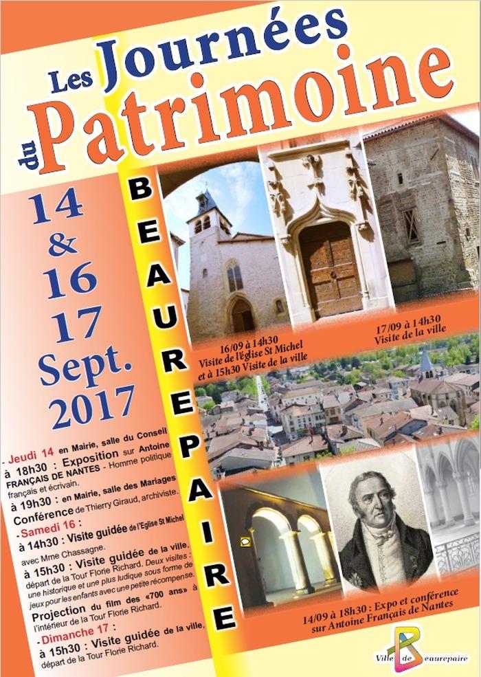 Journées du patrimoine 2017 - Visite guidée de l'église de St Michel et de la ville de Beaurepaire