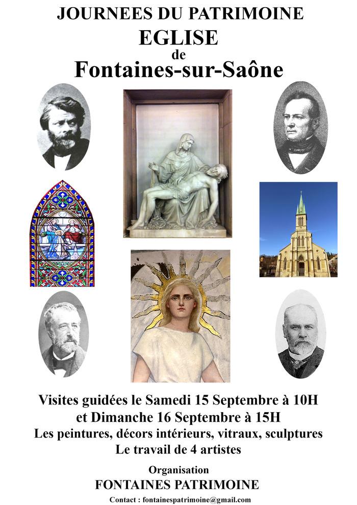 Journées du patrimoine 2018 - Visite guidée des peintures, décors intérieurs, vitraux et sculptures de l'église de Fontaines-sur-Saône