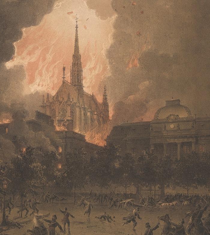 Crédits image : La Sainte-Chapelle cernée par les flammes - mai 1871 / Archives nationales