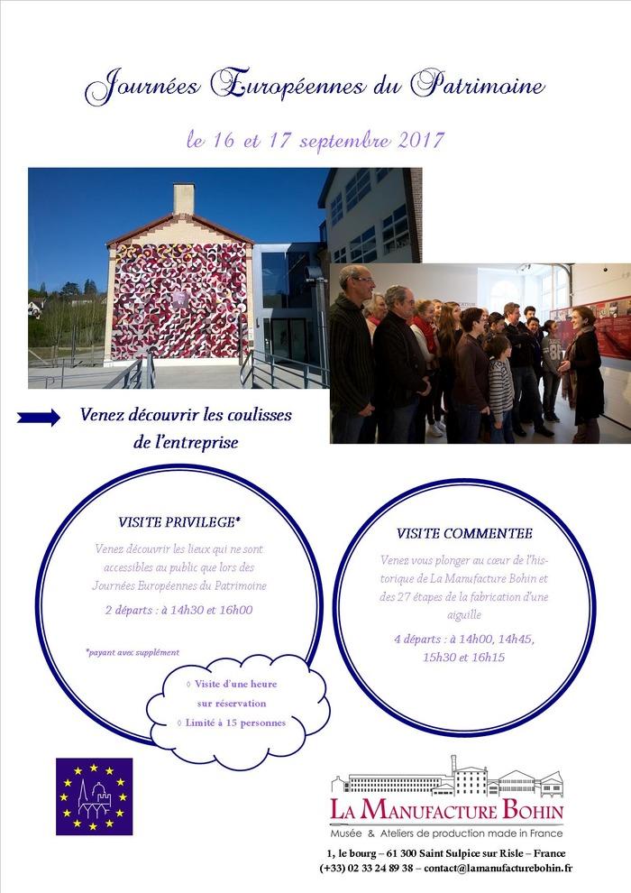 Journées du patrimoine 2017 - Visite privilège de la manufacture Bohin