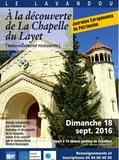 Journées du patrimoine 2016 -Découverte de La Chapelle du Layet