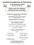Journées du patrimoine 2016 -Église paroissiale Saint-Jean-Baptiste à Fleurey-sur-Ouche