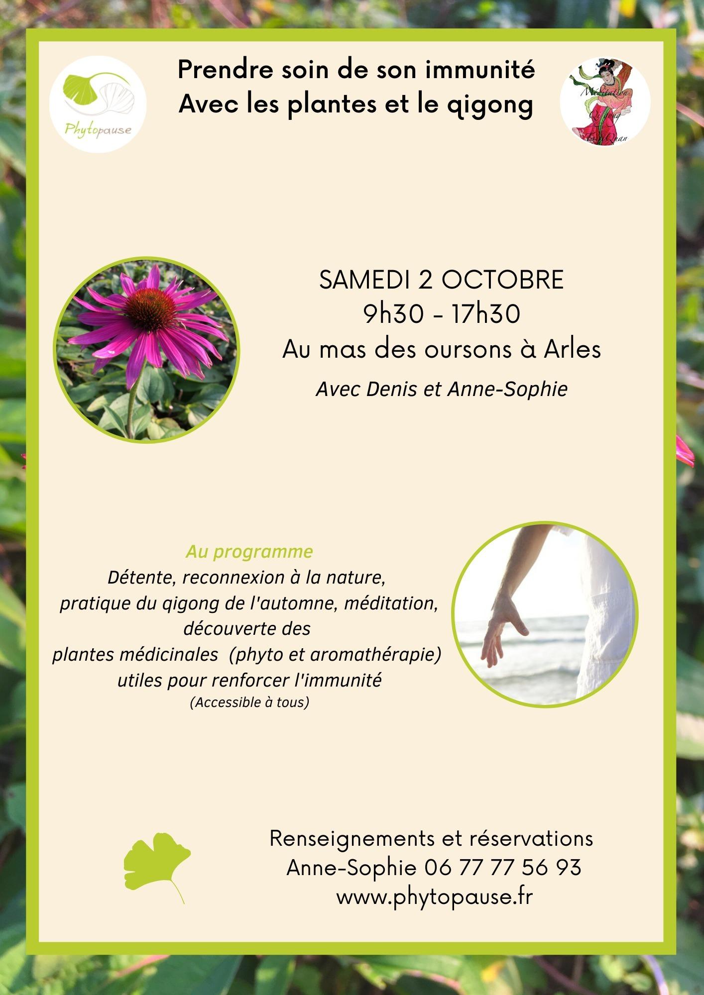 Une journée détente dans un cadre magnifique à Arles, pour explorer les bienfaits de la phytothérapie et du Qigong avec Anne-Sophie et Denis.