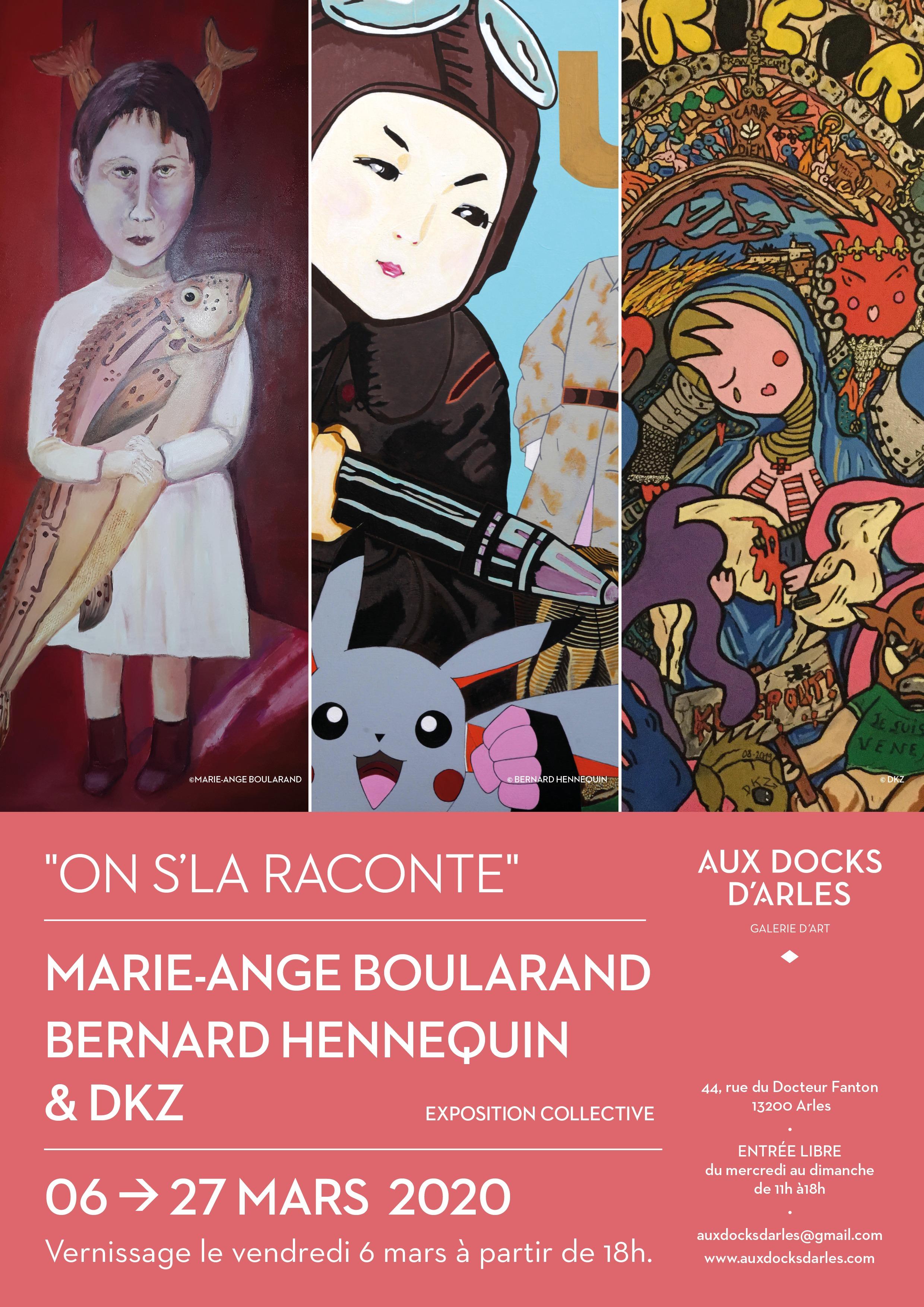 """Exposition de peintures et sculptures de Marie-Ange Boularand, Bernard Hennequin et DKZ, dans le cadre du festival """"Arles se livre"""" du 6 au 8 mars , Aux Docks d'Arles, puis jusqu'au 27 mars 2020."""