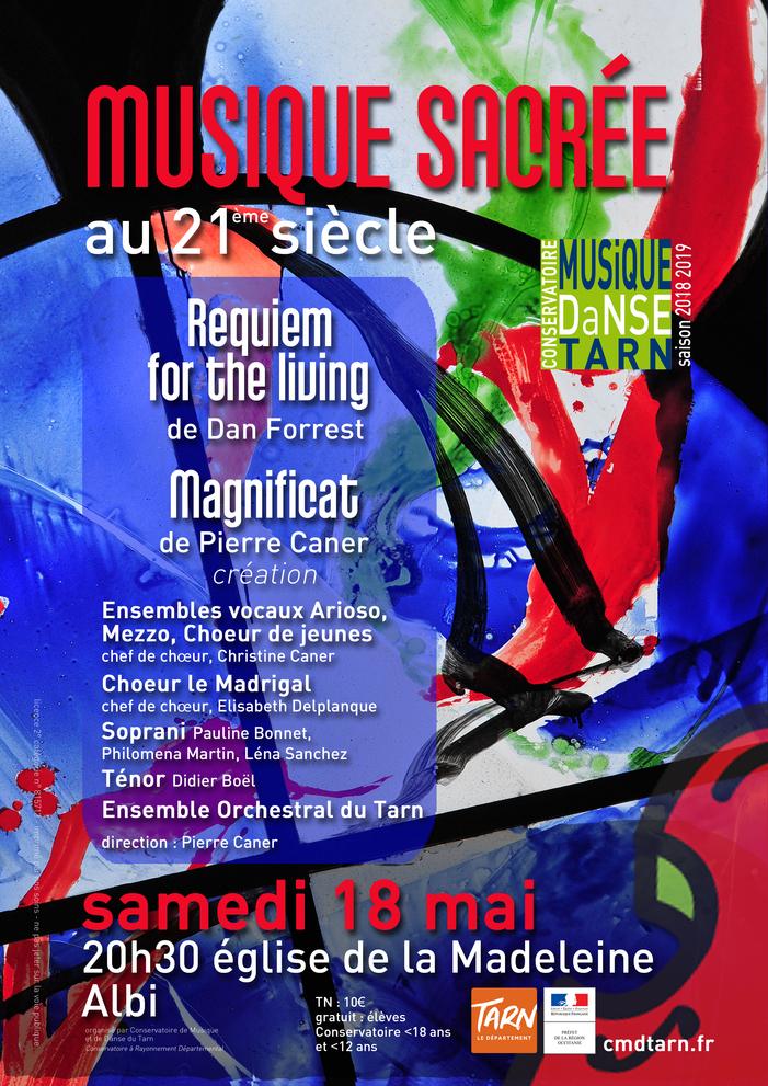 Le Conservatoire de Musique et de Danse du Tarn réunit 150 musiciens engagés autour d'un répertoire de musique sacrée du 21ème siècle le samedi 18 mai à 20h30 à l'église de la Madeleine à Albi.