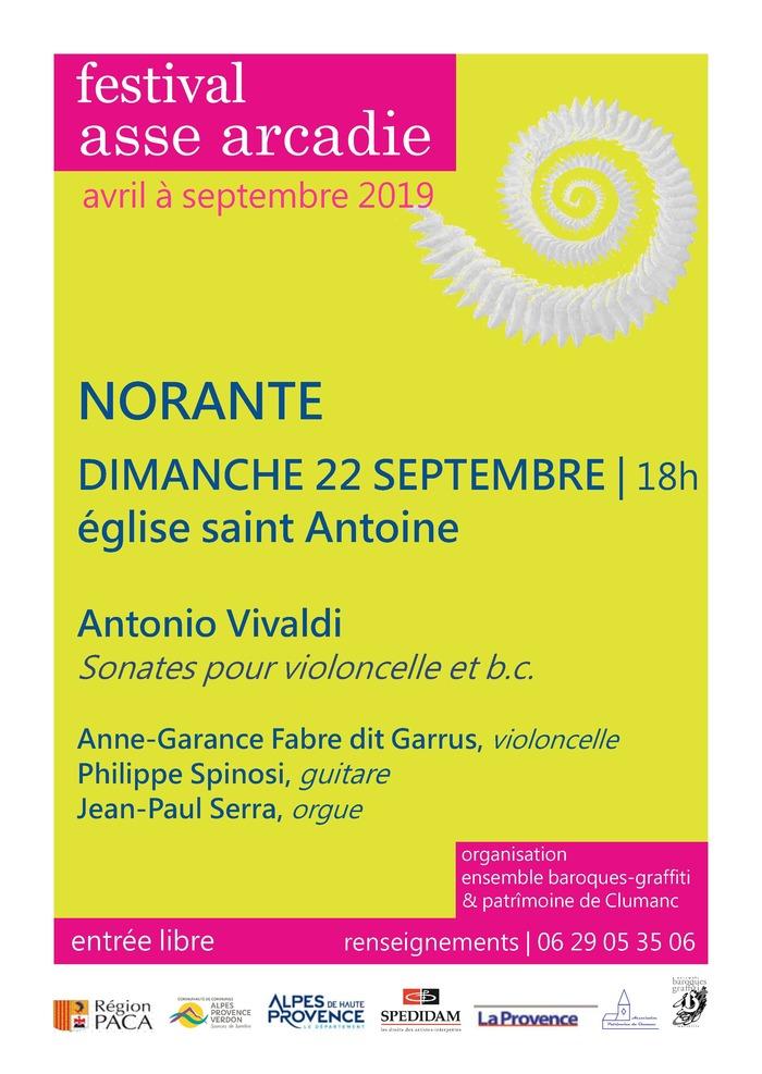 Journées du patrimoine 2019 - Festival Asse Arcadie - Sonates pour cello et basse continue Antonio VIVALDI