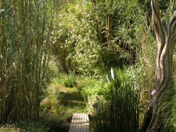 Jardin d'ambiances à l'inspiration japonisante proposant une grande richesse botanique dans une harmonie colorée bercé par les murmures du parcours de l'eau.   Superficie : 8000 m².