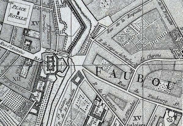 Crédits image : Plan de Vaugondy, 1760 (rue de Lappe, rue de la Roquette